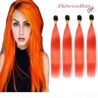 Ombre Dark Root Orange Gerade Jungfrau Brasilianische menschliche Haarverlängerungen 4 Bündel 1b Orange Indische Malaysische peruanische Remy Haare Gewebe