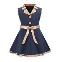 İngiliz Tarzı Yaz Bebek Kız Prenses Elbise Çocuklar Trun-Down Yaka Kolsuz Elbiseler Çocuk Pamuk Rahat Etekler Kız Yelek Etek Papyon ile