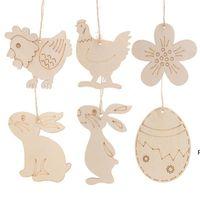 Wood Easter Egg Chick Pendant 10pcs DIY Craft Easter Decoration Creative Wooden Artware Festival Party Favors Supplies Ornament DHE6654