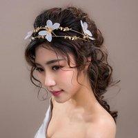 Cabelo Clipes Barrettes Tuanming Gold Borboleta Pérola Noiva Tiara Tiara Hairband Jóias Moda Acessórios Cocar Ornamentos