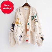 2021 осень зимние женщины кардиган теплый вязаный свитер куртка карманные вышивка мода вязать кардиганы пальто леди свободные свитера
