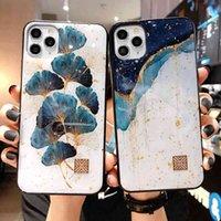 Cassa del telefono del foglio dell'oro di lusso per iPhone 11 12 13 Mini Pro Max XS X XR 7 8 6 6S PLUS PLUS SE Copertura dei casi di foglia dell'albero antiurto