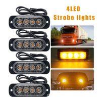 Camion 12v 24v 4 LED Strobe Avertissement Grille Strobe Clignotant LightBar Cachet de voiture Beacon Lampe de secours