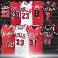 NCAA 23 Michael Retro Jersey Dennis 91 Rodman Scottie 33 Pippen Stripes Ness 1995 1996 ChicagoTaureauJersey de basketball pour hommes