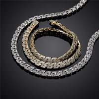 Fashion Mens Hip Hop Chains Gold Plated 9mm Gold Plated Bling CZ Cuban Chain Necklace Links Bracelet for Men Hot Gift