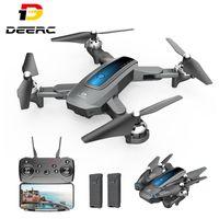 Drones DEERC D10 RC Quadcopter Drone com 1080P HD Camera 5G FPV Vídeo ao vivo 3D Flip Longo Vôo Iniciantes Helicóptero Dobrável Brinquedos