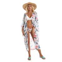 Sınır ötesi satışı yeni bahar ve yaz ürünleri yaprak baskı taze şifon plaj güneş geçirmez bikini mayo ceket