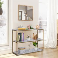 WACO 3-уровня консольный стол Золотая рамка отделка, гостиная софа входные столы с искусственным белым мраморным книжным шкафом, 43 дюйма
