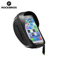 Rockbros 6.0 pollici impermeabile Borsa per bicicletta manubrio Phone Phones Supporto per tubo anteriore Borse Touch Screen Bike Case Bike