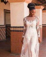 Other Wedding Dresses Boho Beach Modest 3 Pcs Jumpsuit 2021 Backless With Long Sleeve Cloak Lace Appliqued Bridal Gowns Vestido De Nov