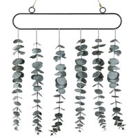 Decorative Objects & Figurines Artificial Eucalyptus Fake Plant Wall Decor Greenery With Metal Frame And Rope For Bedroom Living Room Hangin