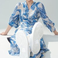 Party Dresses 2021 Summer Runway Retro Ethnic Style Print Sleeves Waist Belt Slim-Fit Mid-Length Shirt Pleated Dress High Quality