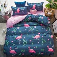 홈 섬유 개 Apparel Flamingo 블루 침구 플랫 베드 시트 킹 퀸 풀 트윈 크기 Pillowcas Duvet 커버 세트 침구 3 / 4pcs