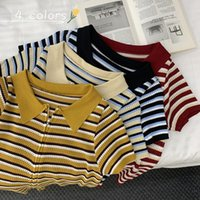 Women's T-Shirt Korean Style Striped Kintting Short Sleeve T Shirt Women Zipper Design Turn Down Collar Vintage Cardigan Harajuku Tees Top