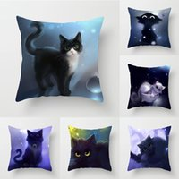 45*45cm Square Decorative Throw Pillow Case Cartoon Cat Pattern Lovers Interesting Pillowcase For Home Pillow Cover