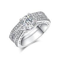 Trouwringen 2 ring sets voor vrouwen dame sieraden witte kubieke zirkoon belofte zilveren kleur vinger groothandel