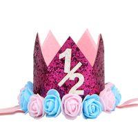 Crown Baby Headbands Girls Fiesta de cumpleaños Peluques Accesorios Accesorios Mildy White Gold Figuras plateadas Plateadas Niños Flor de moda Banda de pelo 4 5JM G2