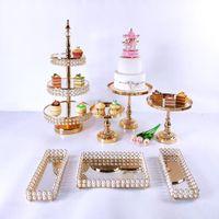 7 шт. Торт стенд установлен красивый поднос 3 уровня золотой кекс десертный дисплей украшения инструменты свадебное акриловое зеркало выпечки печенье