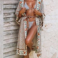 Oversize Bikini Cover Leaves Print Beach Up Tunics For Long ...
