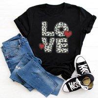 Yaz Kadın Gömlek Leopar Lover Kalp Baskı Kısa Seeve Tshirt Giysileri Tops