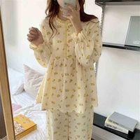 الحلو الكشكشة الفتيات المطبوعة أزهار اللون ضرب الأزياء الكورية زائد النوم الدافئة لطيف الملابس المنزلية البيجامة مجموعات 210525