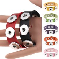 Fashion PU Leather Snap Button Bracelet Solid Color 1.8cm Width Adjustable Handmade Leather Snap Buttons Bracelet Jewelry Gifts