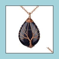 Colares Jewelrynatural Quartz Opal Pedra Pingentes Rosa Cor De Ouro Árvore artesanal da vida embrulhado em forma de cristal pingente colar mistura