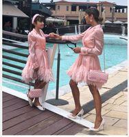 Women dress Jennifer Lawrence Tube Belt Leather Pink Sexuality Tassel Kardashian Miranda Kerr Lace V-Neck Long sleeve A-line Short Party