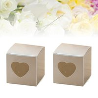 Gift Wrap 50 Pcs Square Kraft Paper Candy Boxes PVC Transparent Heart-shaped Window Cupcake Favor Wedding Party Accessories (Grey)