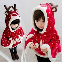 Children reindeer christmas party poncho girls polka dots stereo antlers hooded cloaks kids fleece warm shawl princess cape outwear Q2754