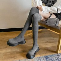 Boots Women Over The Knee Solid Elegant Ladies Sock Breathable Slip On Fashion Thick Bottom Female Platform Autumn