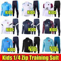 2020 2021 Real Madrid Crianças Futebol Formação Terno 20 21 Chandal Manchester Marselha United Tracksuit Maillot Enfants Survition 1/4 Zip