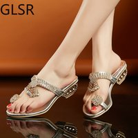 Sandals Sandálias femininas casuais e de praia, chinelo alto com strass, sapatos verão, salto alto, transparente, L2W1
