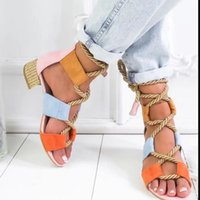 Sandals MoneRffi Fashion Summer Espadrilles Women Heel Pointed Fish Mouth Rope Lace Up Platform Sandal