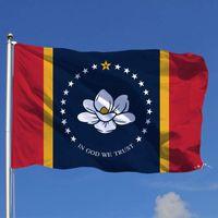 Mississippi Flagge Schnelles Verschiffen Direkte Fabrik Großhandel 3x5FTs 90x150cm USA Staat Banner Mischreihenfolge für Hängende Dekoration EWA4520