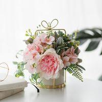 Flores decorativas grinaldas seda peônia ramalhete flor com vaso arranjos em vidro para mesa de casamento decoração de escritório em casa artificial