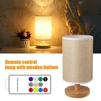 Table Lamps USB Timing Dimmable Wooden Base Office Living Room Nightstand Modern Home Decor Lamp Bedside Lighting Remote Control Round