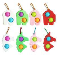 Fidget Sensory Toys Push Pop Bubble Fingertip Top Decompression Kids Adults Keychain Finger Popper Fun Puzzle Stress Relief G53RLEO