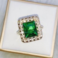 Cluster Rings 925 Silver Color Emerald Ring For Women Green Jade Anillos Turquoise Bizuteria Luxury Wedding Gemstone Jewelry Diamond