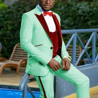 2021 Mint Green Groom Tuxedos Wedding Wear 3 Pieces (Jacket+Pants +Velvet Vest) Prom Party Dinner Date Blazers Terno Masculino Costume Homme Slim Fit