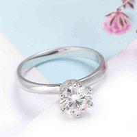 Veryins GRA Certificou 100% Sterling Silver S925 6 PRONG 1CT Anel de MoissaniteGenenDengagement para mulheres casamento aniversário de presente