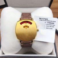2021 Женская цифровая мода кварцевые часы с золотым тоном чехол дамы из нержавеющей стали смотреть роскошный бренд Montre de luxe кожаный ремешок женщины наручные часы наручные часы