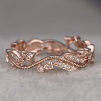 Lady's Plain Ring Diamond Lucky Rattan Leaf Plated 14k Rose Gold Flower Hand Ornament