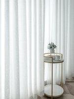Чистые шторы простые занавески балкона белая марлевая легкая передача и непроницаемость гостиной залив отсек
