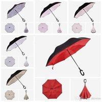 Windproof مكافحة مظلة قابلة للطي طبقة مزدوجة مقلوبة مظلة عكس الذاتي المعطف C نوع هوك اليد WLL554-2