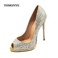 Tomonye Light Glitter Shinny Peep Toe Donne Pompe del tacco alto estremamente sottile con piattaforma Custom Made Primavera Autunno Sale Summer Shoes 210610