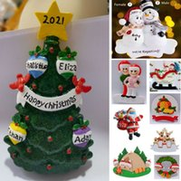 Christmas Tree Pendant Resin DIY Personalized Hanging Pendants Family Of 2 3 4 5 6 Cute Deer Santa Clause Snowman Tent Xmas New Year Decoration Free DHL HH21-665