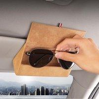 Auto Sonnenbrille Halter Sonnenblende Sonnenbrille Fall Organizer Gläser Aufbewahrungsbox Drehen Leder 3 Farben Universal Andere Inneneinrichtungen