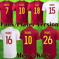 2021 Espana Soccer Jersey Rodrigo Torres Pedri إسبانيا مراوح المشجعين نسخة كرة القدم قمصان موراتا راموس تياجو إينيستا الاطفال كيت إسبانيا معدات Camisetas دي فوتبول