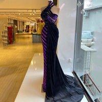 Party Dresses Stylish Purple Mermaid Evening Dress Sequins 3D Floral Velour Prom Gowns With Overskirt Women Formal Wear Vestidos De Novia